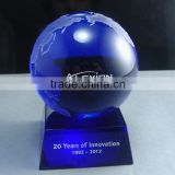High Quality Blue Crystal Globe Paperweight With Base OSM027