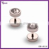 New Arrival Anodized Stainless Steel Beautiful Design Fake Ear Plugs