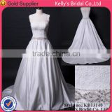 See through lace corset bodice short sleeve satin wedding dress for bride