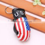 wholesale hot sell PVC leather US flag boxing glove keychain/American flag boxing glove keyring