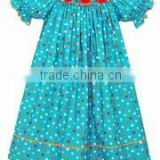 Embroidery Children Clothing girls child turquoise multi dots smocked bishop dress Baby Girls Dresses