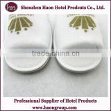 High end 100% cotton closed toe hotel terry towel disposable slipper