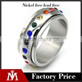 Retail Silver Wedding Band Polishing Rainbow Diamond Pride Stainless Steel Gay Ring