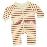 Organic Red Strips Baby Winter Rompers and 100% Organic cotton Fashionable long sleeve Plain and Printed baby rombers