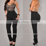 2014 open lace V neck detail back black cutout sexy bodycon women strapy jumpsuit in satin with loose pant new OEM cheap