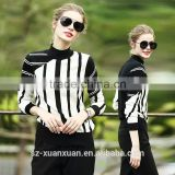 Latest design black and white stripe turtleneck sweater for women