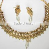GOLD plated Goddess Laxmi COIN Pearl Bollywood necklace EARRING Set
