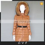 Detachable raccoon fur hood 100% polyster down cotton coat jackets wholesale