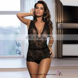 2017 Beautys love sexy hot woman black lace Transparent Babydoll sleepwear sexy Lingerie