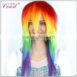 crazy straight synthetic cosplay wigs multi color