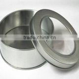 original silver color round tin box with pvc window                                                                         Quality Choice