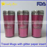 16OZ BPA free Travel car Mugs with paper inserts glitter laser logo FDA standard