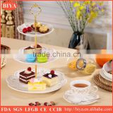 fashion 3 tier cake stand, wedding cake stand,ceramic cake stand, cake plate with golden pringt and embossment