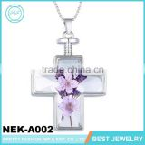 Small Order Cheap Purple Dry Flower glass terrarium necklace