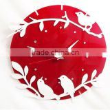 ACC2005 white bird and red back acrylic DIY clock for living room decor