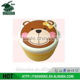 Factory made plastic material food container with cartoon bear painting