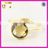 Latest fashion jewelry wholesale natural citrine gemstone 925 sterling silver gold ring designs