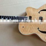 UNFINISHED 18'' PROJECT ELECTRIC GUITAR BUILDER WITH FLAME MAPLE TOP CREAM BINDING EBONY FINGERBOARD