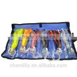 SET of 6 Pusher style Marlin / Tuna Mahi Dolphin Durado Wahoo Trolling Lures. Rigged and bag included tuna