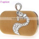 0617 apricot latest high quality crystal rhinestions ladies clutch bag with big stones ring clutch bag for nigerian party