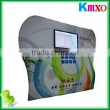 OEM Curved Tension Fabric Display LCD Advertising Kiosk Stand Trade show booth Exhibition Stand with Media