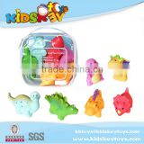 New summer toy for 2015 6pcs soft rubber dinosaur toy bath toy set