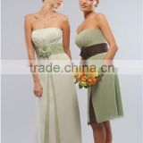 2014 New Chiffon Light Green Strapless Cheap Bridesmaid Dresses Gowns With Hand Made Flower Knee Length A Line Formal Dresses