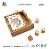 wooden teaser Card game and Dices