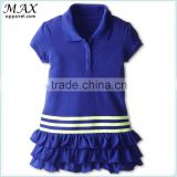 Classic fold-down collar children girl dress 3-Stripes fancy dresses for baby girl Layered ruffle polo dress