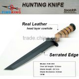 OEM stainless steel fixed blade survival knife with leather handle                                                                         Quality Choice
