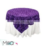 Satin rosette polyester banquet wedding wholesale cheap table cloth linen overlay
