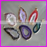 KJL-A045 natual drusy druzy stone finding,quartz geode slice charm gem jewelry connector for bracelet