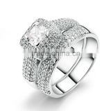 Luxury Full Cluster Diamond Beads Pave Setting White Gold Zircon Stone Ring Set For Wedding