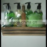 hot sale high quality bath gift set in wooden basket