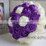 Elegant Purple Satin Ribbon Pearls Bridal Bouquet Bridesmaids Bouquet Wedding Flowers
