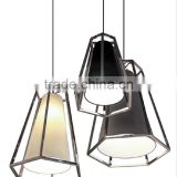2016 new design stainless steel chrome /black 2016 good quality modern hotel pendants with fabric shade UL CUL ETL CE ROHS