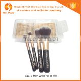 cute 4pcs mini golden shiny black nylon hair plastic handle private label makeup brush set