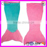 C919 Mermaid Tail Knitted Blanket for Adults Cuddle Tails Pink Teal Color Knitted Adult Blanket