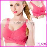 Pei Le Factory Hot Sell 8 Colors Stylish Women Cozy Padded Seamless Sports Leisure Crop Top Comfy Lace Vest Bra Size M-XL