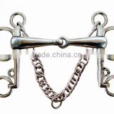Stainless steel horse Pelham bit with hooks&curb chain,(Type-BT0705HO)