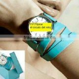 Long leather strap fashion lady wrist watch HOT !!!