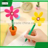 promotional wholesale cheap funny school office stationery mini cartoon silicone plastic sun flower pot roller ball point pen