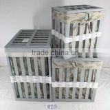 Set of 3 Deluxe Grey Nesting Square Wood & Rattan Baskets Fabric Lined Laundry Hampers w/ Wood Lids