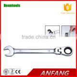 Carbon steel high quality ratchet adjustable combination wrench , box and open end spanner