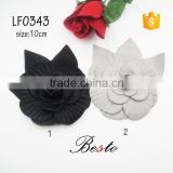 10CM Italy new style two colors available leather flowers for ladies bags decoration