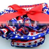 4th of July Baby girl satin ruffle bloomer toddler diaper cover star stripes Newborn blue red bloomer