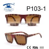 square shape slim temple candy wood sunglasses