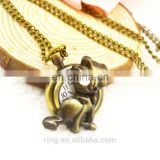 Hot Sale Vintage Cute Cat Quartz Pendant Long Chain Water- Proofing Pocket Watch