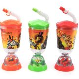cute kids juicer water mug with straw and a doll in bottom