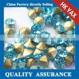 china wholesale glass stone point back,blue zircon ss12 ss16 point back glass stone for garment bags wedding dress